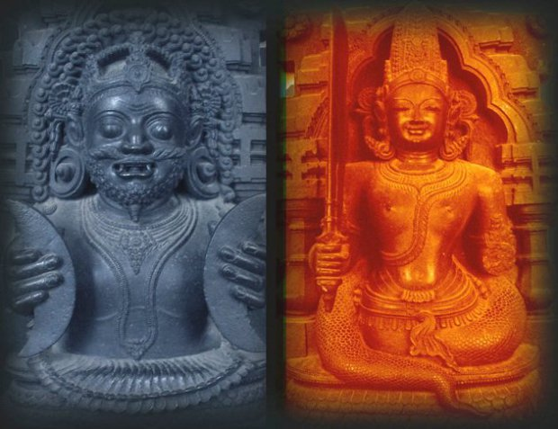 Rahu and Ketu, Lucifer and Ahriman, Yang and Yin, Red and Blue.